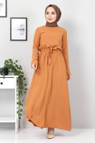 Tesettür Dünyası - Beli Lastikli Ayrobin Elbise TSD5521 Tarçın