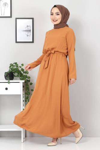 Tesettür Dünyası - Beli Lastikli Ayrobin Elbise TSD5521 Tarçın (1)