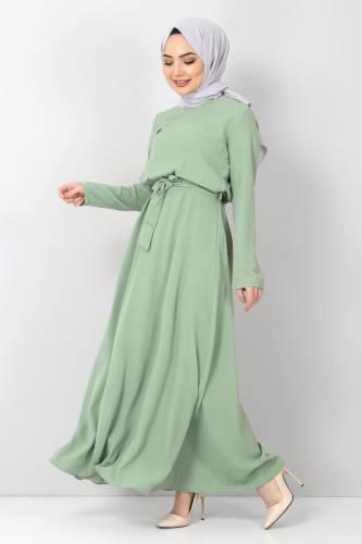 Tesettür Dünyası - Beli Lastikli Ayrobin Elbise TSD5521 Yeşil