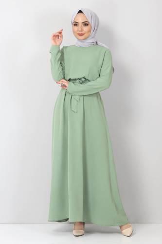 Tesettür Dünyası - Beli Lastikli Ayrobin Elbise TSD5521 Yeşil (1)