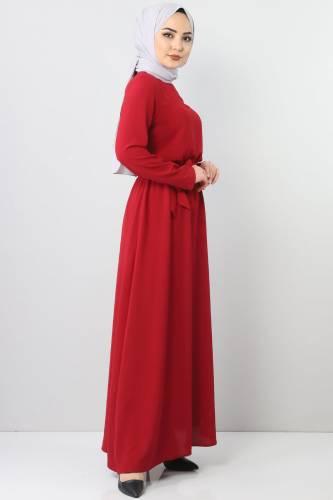 Beli Lastikli Ayrobin Elbise TSD5521 Bordo - Thumbnail