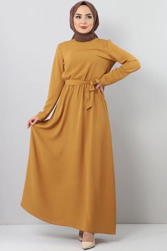 Beli Lastikli Ayrobin Elbise TSD5521 Hardal