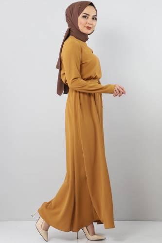 Beli Lastikli Ayrobin Elbise TSD5521 Hardal - Thumbnail