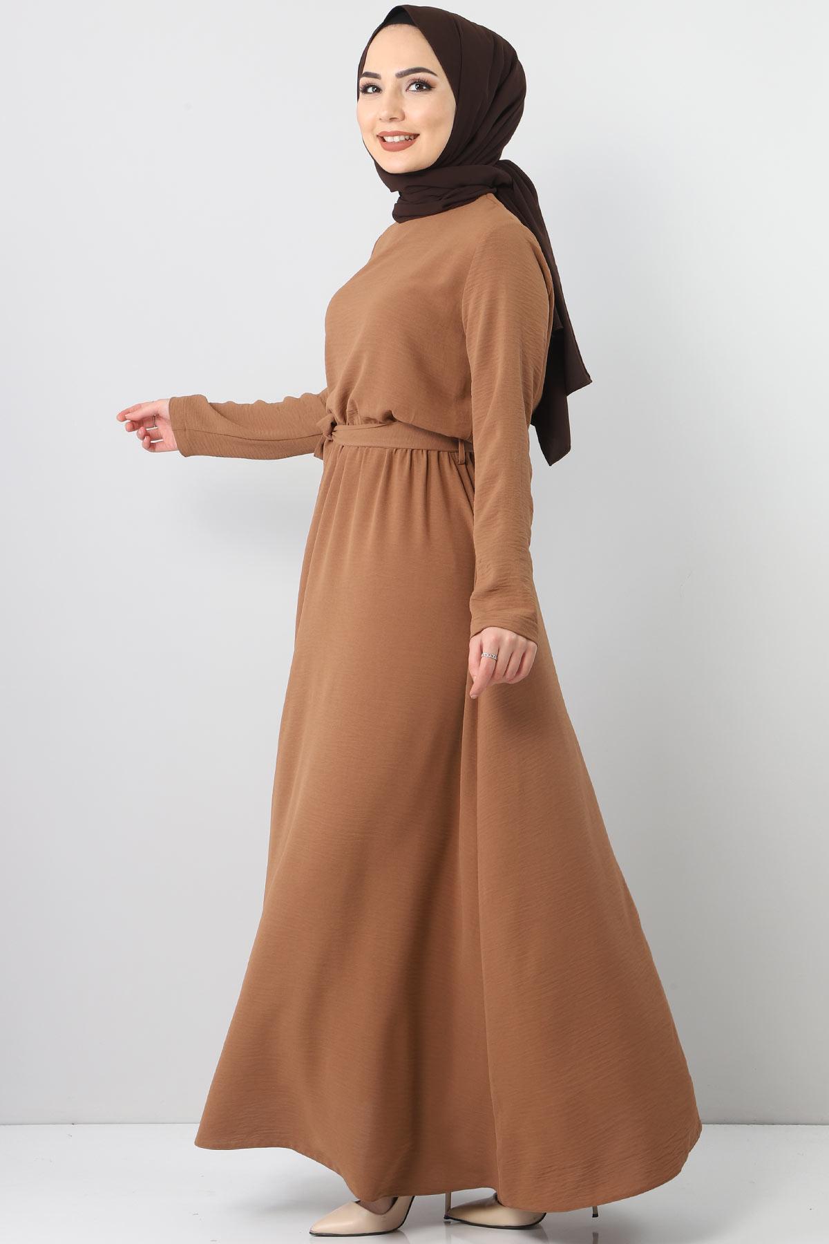 Beli Lastikli Ayrobin Elbise TSD5521 Kahverengi
