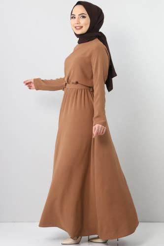 Beli Lastikli Ayrobin Elbise TSD5521 Kahverengi - Thumbnail