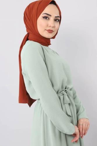 Beli Lastikli Ayrobin Elbise TSD5521 Mint - Thumbnail