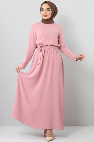 Tesettür Dünyası - Beli Lastikli Ayrobin Elbise TSD5521 Pudra