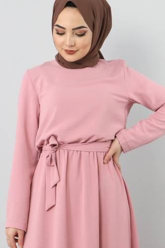 Tesettür Dünyası - Beli Lastikli Ayrobin Elbise TSD5521 Pudra (1)