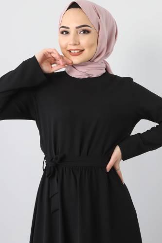 Beli Lastikli Ayrobin Elbise TSD5521 Siyah - Thumbnail