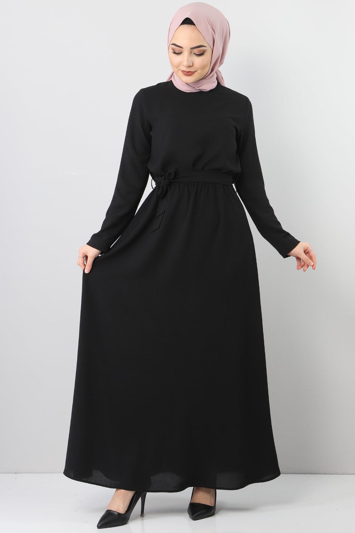 Beli Lastikli Ayrobin Elbise TSD5521 Siyah
