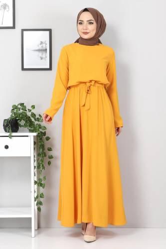 Tesettür Dünyası - Beli Lastikli Ayrobin Elbise TSD5522 Hardal