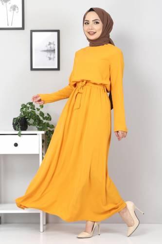 Tesettür Dünyası - Beli Lastikli Ayrobin Elbise TSD5522 Hardal (1)