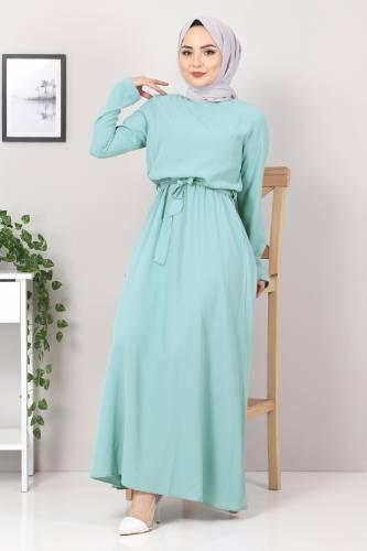 Tesettür Dünyası - Beli Lastikli Ayrobin Elbise TSD5522 Mint