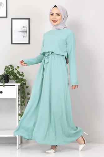 Tesettür Dünyası - Beli Lastikli Ayrobin Elbise TSD5522 Mint (1)