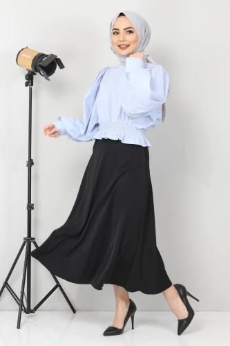 Tesettür Dünyası - Beli Lastikli Bluz TSD10540 Mavi (1)