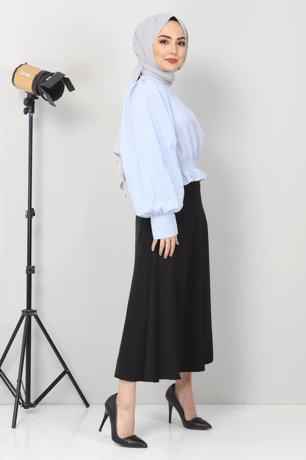 Beli Lastikli Bluz TSD10540 Mavi