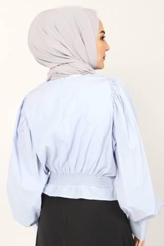 Beli Lastikli Bluz TSD10540 Mavi - Thumbnail