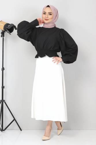 Tesettür Dünyası - Beli Lastikli Bluz TSD10540 Siyah