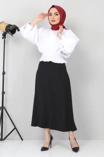 Tesettür Dünyası - Beli Lastikli Bluz TSD10540 Beyaz