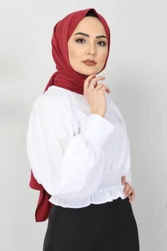 Tesettür Dünyası - Beli Lastikli Bluz TSD10540 Beyaz (1)