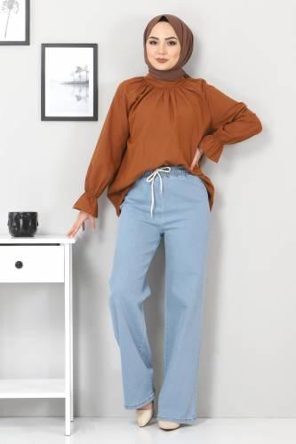 Tesettür Dünyası - Beli Lastikli Bol Paça Kot Pantolon TSD22045 Açık Mavi