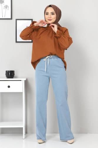 Tesettür Dünyası - Beli Lastikli Bol Paça Kot Pantolon TSD22045 Açık Mavi (1)