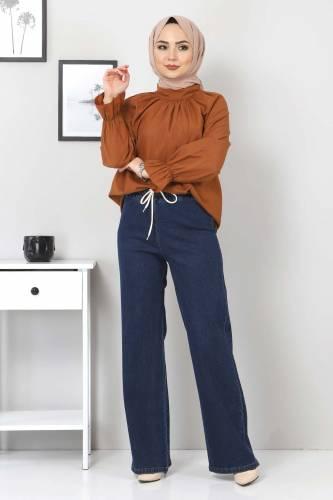 Tesettür Dünyası - Beli Lastikli Bol Paça Kot Pantolon TSD22045 Koyu Mavi