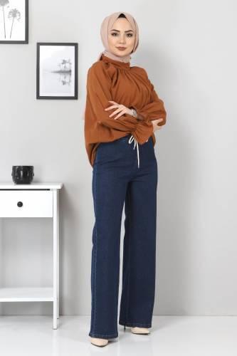 Tesettür Dünyası - Beli Lastikli Bol Paça Kot Pantolon TSD22045 Koyu Mavi (1)