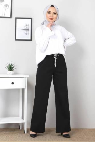 Tesettür Dünyası - Beli Lastikli Bol Paça Kot Pantolon TSD22045 Siyah