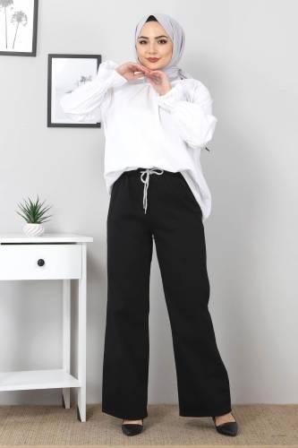 Tesettür Dünyası - Beli Lastikli Bol Paça Kot Pantolon TSD22045 Siyah (1)
