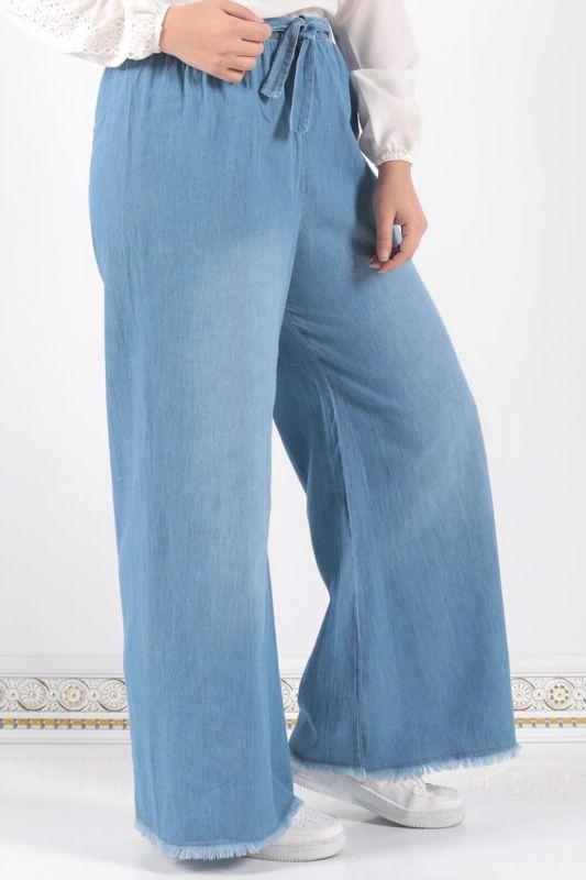 Beli Lastikli Bol Paça Pantolon ASM028 Açık Kot
