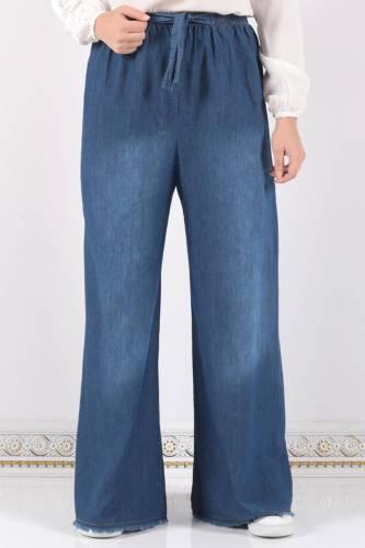 Tesettür Dünyası - Beli Lastikli Bol Paça Pantolon ASM028 Koyu Kot