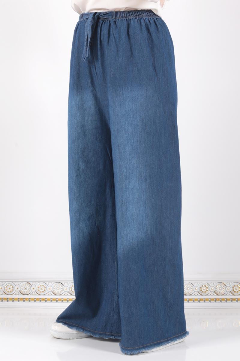 Beli Lastikli Bol Paça Pantolon ASM028 Koyu Kot