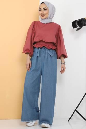 Tesettür Dünyası - Elastic Waist Wide Leg Trousers TSD2102 Light Blue