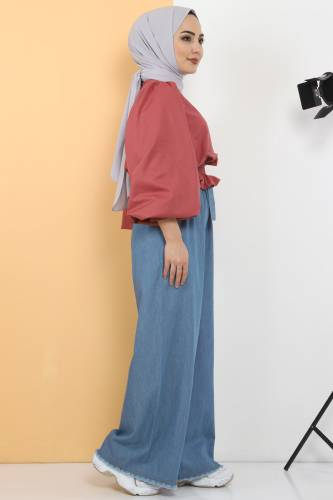 Tesettür Dünyası - Elastic Waist Wide Leg Trousers TSD2102 Light Blue (1)