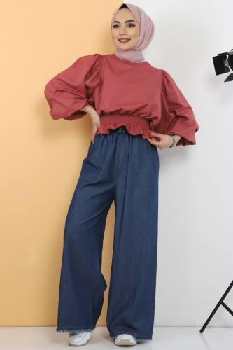 Tesettür Dünyası - Elastic Waist Wide Leg Trousers TSD2102 Dark Blue