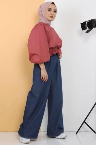 Tesettür Dünyası - Beli Lastikli Bol Paça Pantolon TSD2102 Koyu Mavi (1)