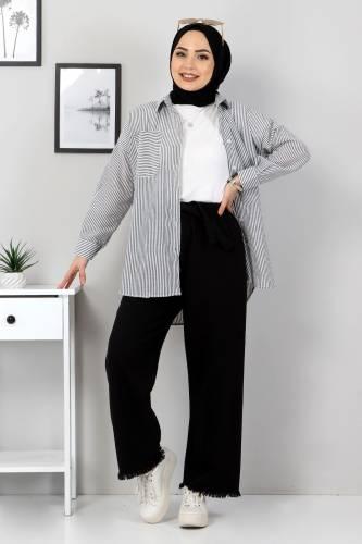 Tesettür Dünyası - Elastic Waist Wide Leg Trousers TSD2102 Black