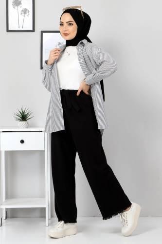 Tesettür Dünyası - Elastic Waist Wide Leg Trousers TSD2102 Black (1)
