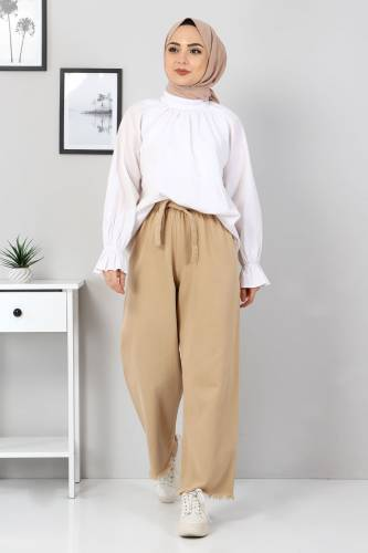 Tesettür Dünyası - Elastic Waist Wide Leg Trousers TSD2102 Light Brown