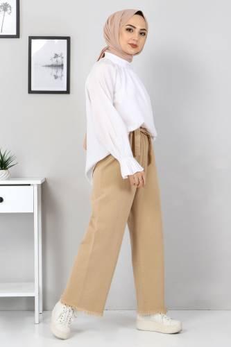 Tesettür Dünyası - Elastic Waist Wide Leg Trousers TSD2102 Light Brown (1)