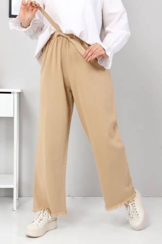 Beli Lastikli Bol Paça Pantolon TSD2102 Camel - Thumbnail