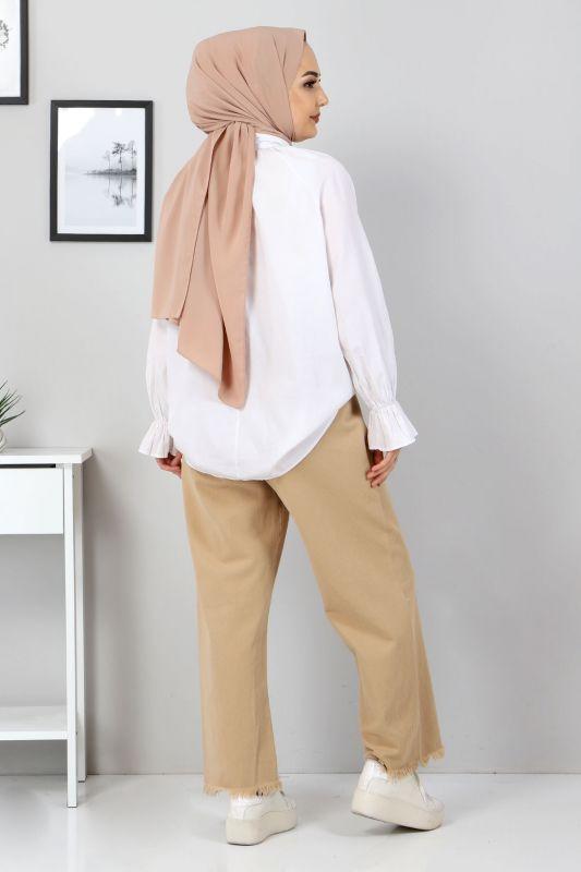 Beli Lastikli Bol Paça Pantolon TSD2102 Camel