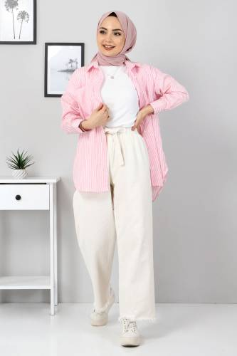 Beli Lastikli Bol Paça Pantolon TSD2102 Ekru - Thumbnail