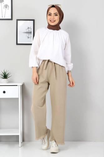 Tesettür Dünyası - Elastic Waist Wide Leg Trousers TSD2102 Dark Beige
