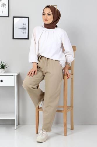 Tesettür Dünyası - Elastic Waist Wide Leg Trousers TSD2102 Dark Beige (1)