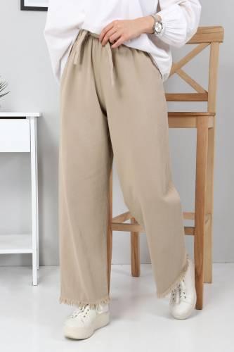 Beli Lastikli Bol Paça Pantolon TSD2102 Vizon - Thumbnail