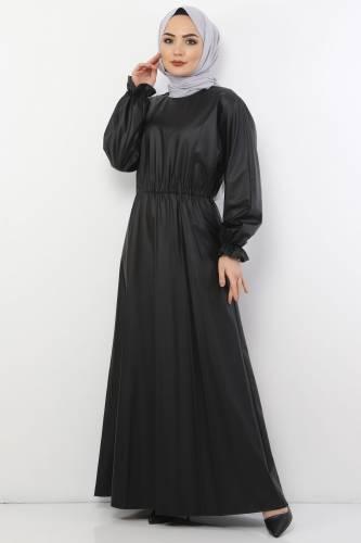 Tesettür Dünyası - Beli Lastikli Deri Elbise TSD9069 Siyah