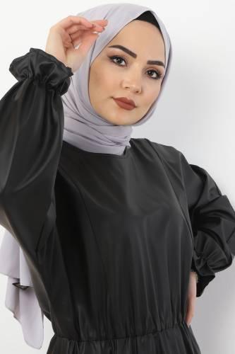 Tesettür Dünyası - Beli Lastikli Deri Elbise TSD9069 Siyah (1)