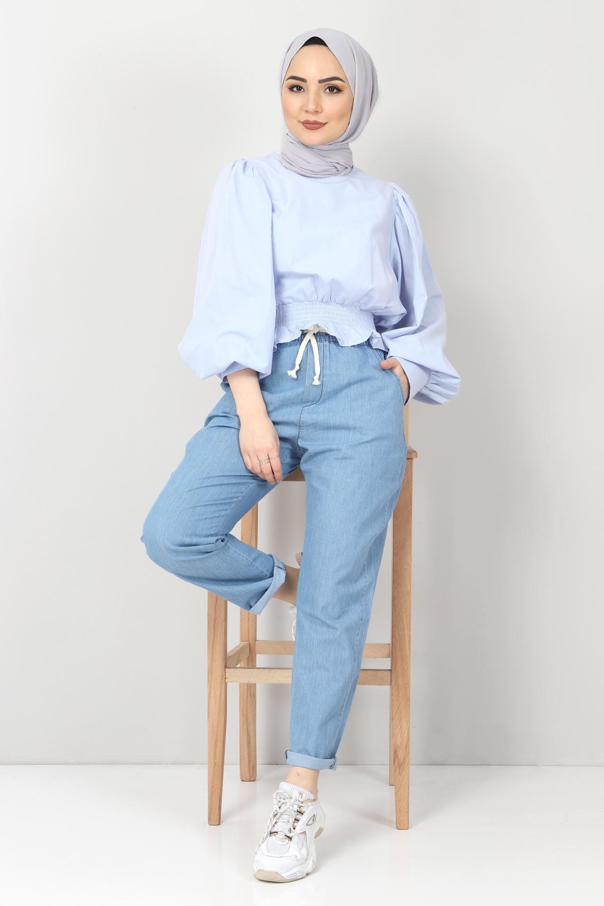 Beli Lastikli Kot Pantolon TSD1620 Açık Mavi